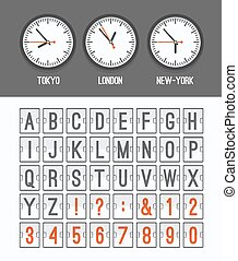 Airport arrival table alphabet with characters and numbers for departures, arrivals, clocks, countdowns. Vector illustration.