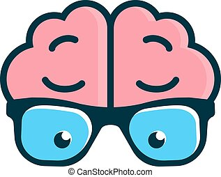 Brain with glasses. Science logo - Vector logo design...