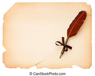 blank paper page with antique ink feather pen - empty blank...