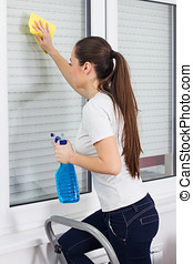 Young Woman Cleaning Windows Glass on ladder at the home