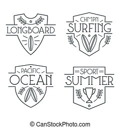 Surfing badges and icons