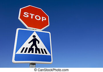 double signal stop and crosswalk