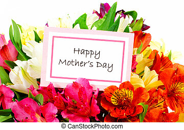 Happy Mother Day card with flowers - Happy Mothers Day tag...