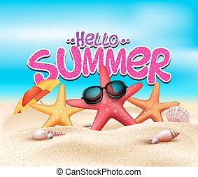 Hello Summer in Beach Seashore with Realistic Starfish with...
