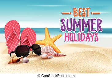 Best Summer Holidays Title Words in Beach Seashore with...