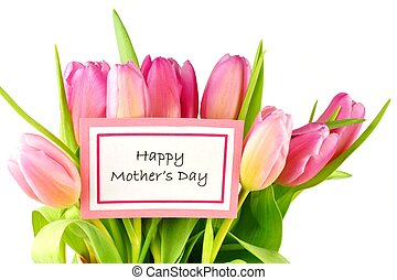 Happy Mother Day tag with tulips - Happy Mothers Day card...