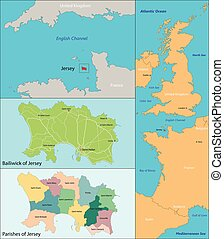 Jersey map - Map of administrative divisions the Bailiwick...