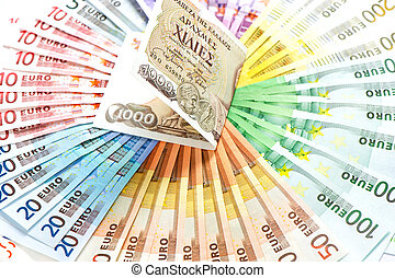 antigas, Grego, dracma, e, Euro, Dinheiro, notas., Euro,...