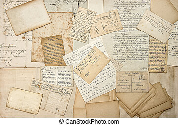Old letters, handwritings, vintage postcards. Grungy paper...