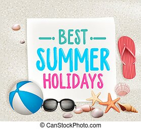 Best Summer Holidays Colorful Title Words in a paper with...