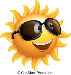 Summer Sun Face with Sunglasses and Happy Smile Character....