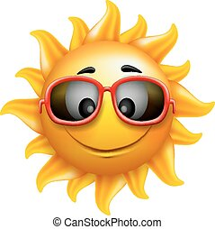 Summer Sun Face with Sunglasses and Happy Smile Character...