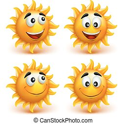 Set of Summer Sun Face with Happy Smile Character Elements....