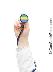 Stethoscope with national flag series - Gabon - Stethoscope...