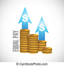 equal pay coin graph sign illustration design over white