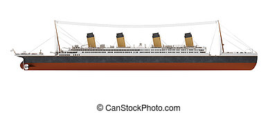 Big ship liner side view - isolated ship liner over white