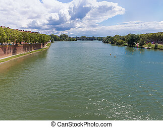 View of the Garonne river from Pont Neuf in Toulouse