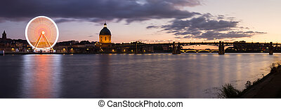 Nightly panorama of the Garonne river at sunset