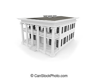 big house over white - big house on a white background