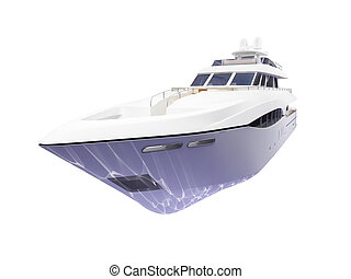 Big yacht isolated front view - isolated big yacht on white...