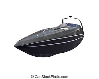 Black Boat isolated front view