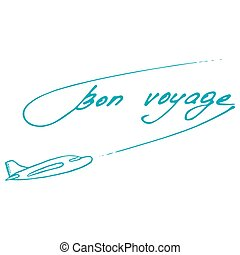 Bon Voyage design. Summer postcard. Vector illustration