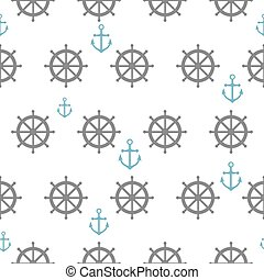 Seamless pattern with gray rudders and blue anchors. Nautical th