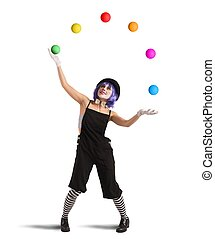 Clown like a juggler - Clown playing with balls like a...