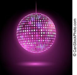 Glowing disco ball with stars. - Vector illustration of...