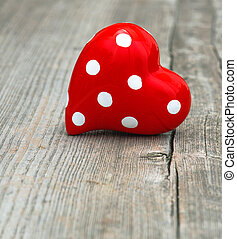 Red Heart On Wooden Background. Love and  Valentines Day
