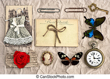 vintage things nostalgic scrap booking background - antique...