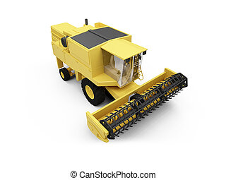 Combine Harvester - isolated combine harvester on a white...