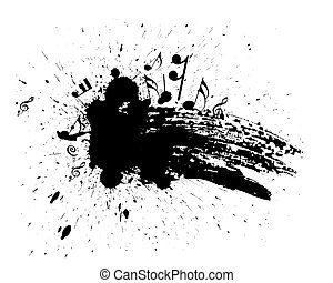 grunge music note - Ink splat overlayed by music note in...