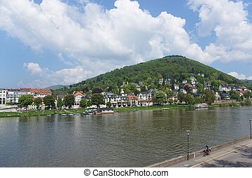 Landscape of Quay of Neckar river in summer Heidelberg...