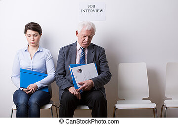 People before job interview - Horizontal view of people...