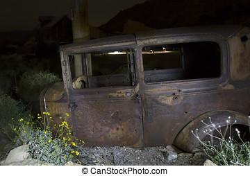 Bullet Ridden Old Car in Junk Yard - Bullet ridden abandoned...