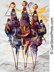 Tribal art - African art tribal, painted on textile...