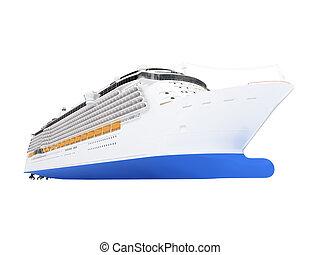 巡航, 船, 隔離された, 前部, 光景