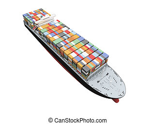 Container ship isolated front view - isolated container ship...