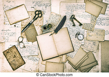 antique accessories, old letters and vintage ink pen...