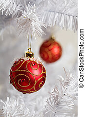 Christmas decoration - Red christmas decorations on white...