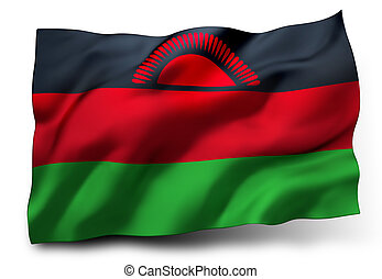 Flag of Malawi - Waving flag of Malawi isolated on white...