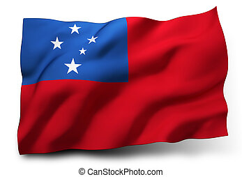 Flag of Samoa - Waving flag of Samoa isolated on white...