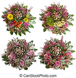 chrysanthemum flowers with fruits and berries - four autumn...