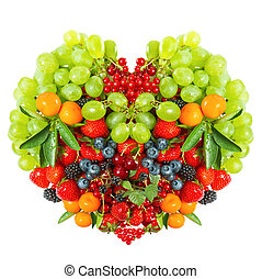 heart shaped mix of fruits and berries on white - heart...