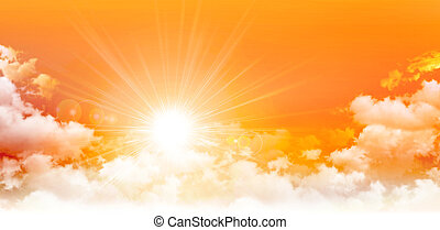 Panoramic sunrise - High resolution orange sky background...