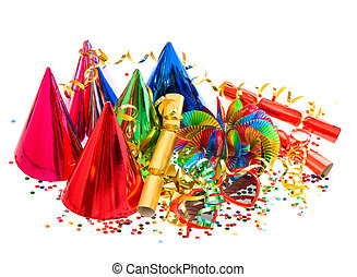 garlands, streamer, party hats and confetti