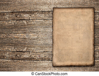 old paper sheet over rustic wooden background. grunge...