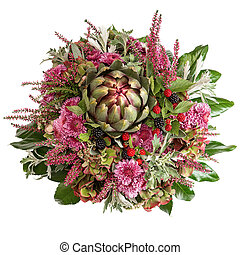 chrysanthemum flowers with artichoke and blackberries -...