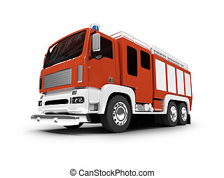 Firetruck isolated front view - firetruck on white...